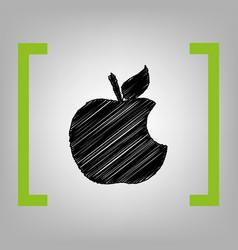 Bite apple sign black scribble icon in vector