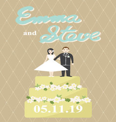 Bride and groom on a cake vector