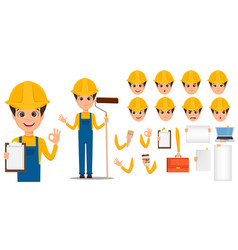 Builder cartoon character creation set young vector