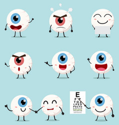 cartoon eye ball collection set vector image
