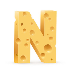 Cheese font n letter on white vector