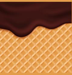 Chocolate ice cream glaze on wafer background vector