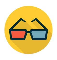 Cinema glasses flat icon vector image