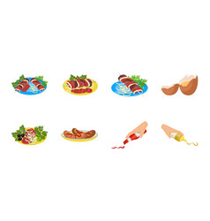 Cooking food icons in set collection for design vector