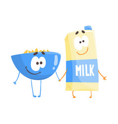 cute cartoon bowl of flakes and carton of milk vector image vector image