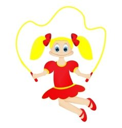 Cute happy little girl with jumping rope vector
