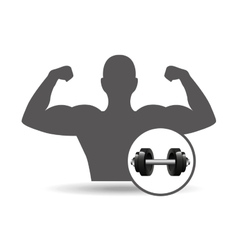 Fitness silhouette barbell gym graphic vector
