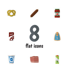 flat icon food set of beef cookie canned chicken vector image vector image
