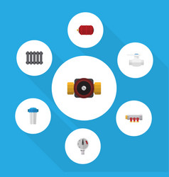 flat icon industry set of pressure heater tap vector image vector image