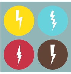 Flat lightning symbols set vector image vector image