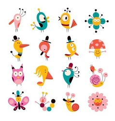 Flowers birds mushrooms snails characters set vector