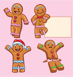 Ginger bread character set vector