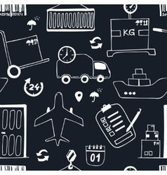 Hand drawn logistics and delivery sketch seamless vector image vector image