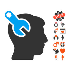 Head neurology wrench icon with lovely bonus vector