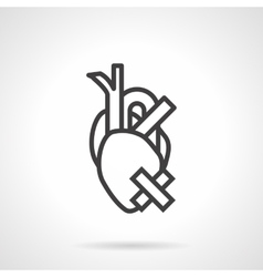 Heart health problem simple line icon vector image vector image