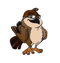 image of the cartoon smiling sparrow vector image
