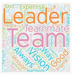 Leadership teamwork text background wordcloud vector