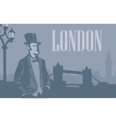 London gentleman in hat on the london street vector