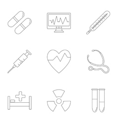 Medicine icons set outline style vector image vector image
