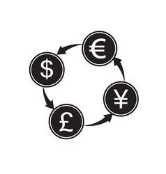 money convert icon euro dollar flat design style vector image