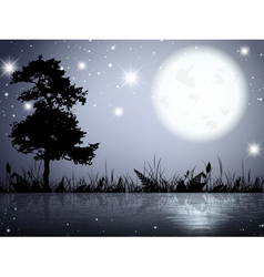 Moon night lake vector