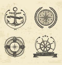 nautical symbols vector image vector image
