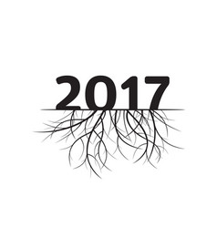 new year 2017 and black roots vector image vector image