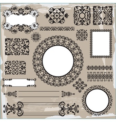 ornamental pattern on brown background vector image