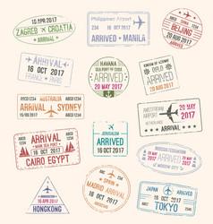 Passport stamp of travel visa for tourism design vector