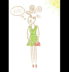 Pencil drawn goat vector