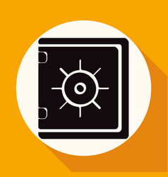 safe icon on white circle with a long shadow vector image