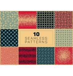 Seamless geometric halftone retro patterns vector