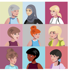 set of different female characters vector image