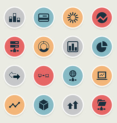 set of simple data icons vector image vector image