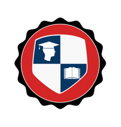 Stamp circular with shield elements graduation vector