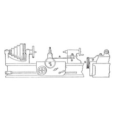 Taper turning and boring lathe rig vintage vector