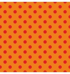 Tile pattern red polka dots on orange background vector image vector image