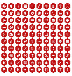 100 sport equipment icons hexagon red vector