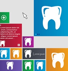 Tooth icon sign buttons modern interface website vector