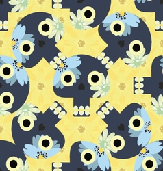 Cute seamless pattern with funny skulls vector