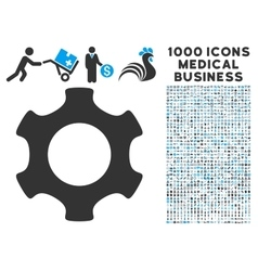 Gear icon with 1000 medical business symbols vector