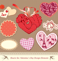 valentines day design elements - different hearts vector image