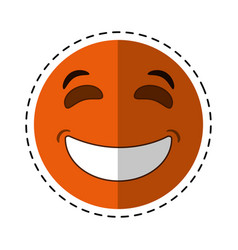 laughing emoticon style cut line vector image