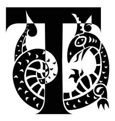 Gargoyle decorating capital letter t vector