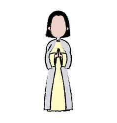 Saint virgin mary holy religious image cartoon vector