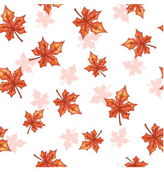 Seamless pattern with falling maple red leaves vector