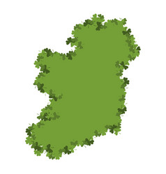 Ireland map of clover shamrock irish land area vector