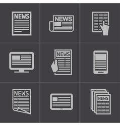 Black newspaper icons set vector