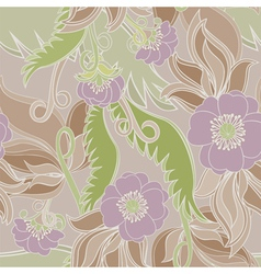 Seamless With Flowers And Leaves vector image