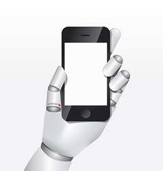 robot hand hold smartphone design concept vector image